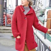 Как связать спицами удлиненное пальто с карманами на пуговице