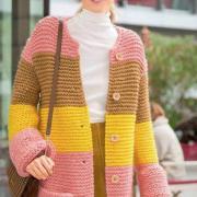 Как связать спицами удлиненное пальто в широкую полоску