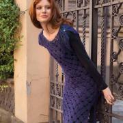 Как связать крючком сетчатое платье с коротким рукавом