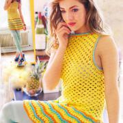 Как связать крючком желтое мини платье без рукавов