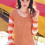 Как связать крючком оранжевый пуловер с цветочным узором