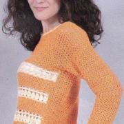 Как связать крючком пуловер с контрастной отделкой