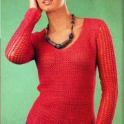Как связать крючком розовый пуловер с v-образным вырезом