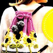 Как связать спицами цветной рюкзак с объемными подсолнухами
