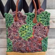 Как связать спицами сумка из цветочных узоров