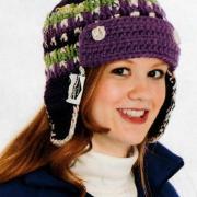 Как связать крючком цветная шапочка с козырьком и отворотом