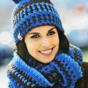 Как связать крючком цветная шапочка с помпоном, шарф-хомут и варежки