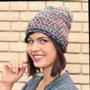 Как связать крючком меланжевая шапка с помпоном