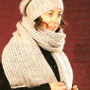Как связать крючком шапка-мешок и длинный шарфик