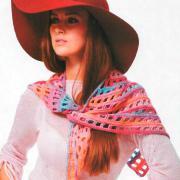 Как связать крючком цветной сетчатый платок тунисским узором