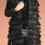 Как связать крючком длинный шарфик с бахромой