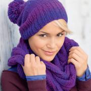 Как связать крючком меланжевая шапка с помпоном и шарф-хомут