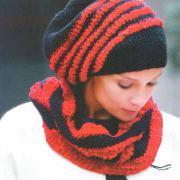 Как связать крючком полосатый шарф снуд и берет
