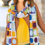 Как связать крючком шарф из цветным квадратов в стиле пэчворк