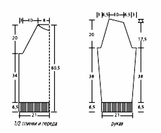 Вязанный свитер мужской схема реглан
