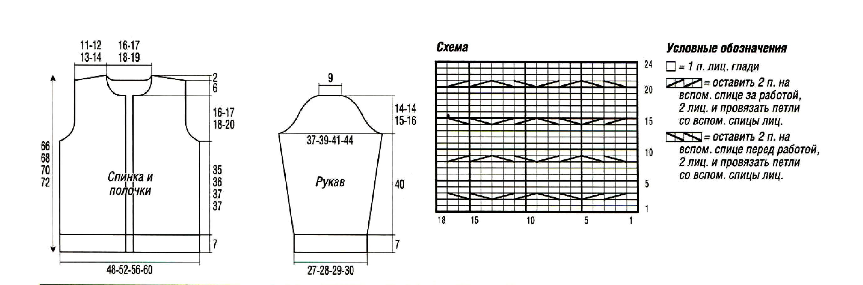Схема вязания жакета 56 размер
