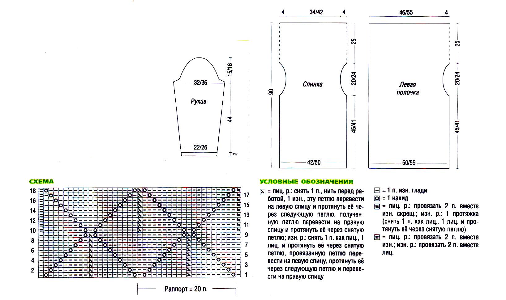 Вязание кардигана с ассиметричными полочками и схемы