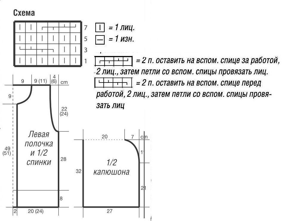 Схема вязания безрукавки с капюшоном спицами 23