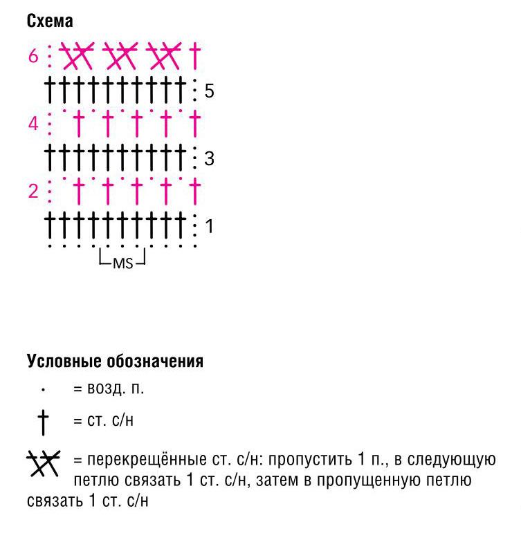 Схема прямого вязания крючком 594
