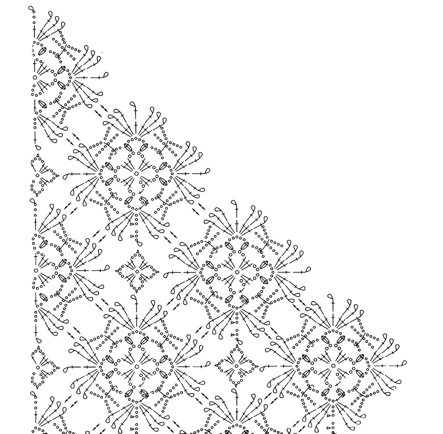 схема вязания крючком шарфа