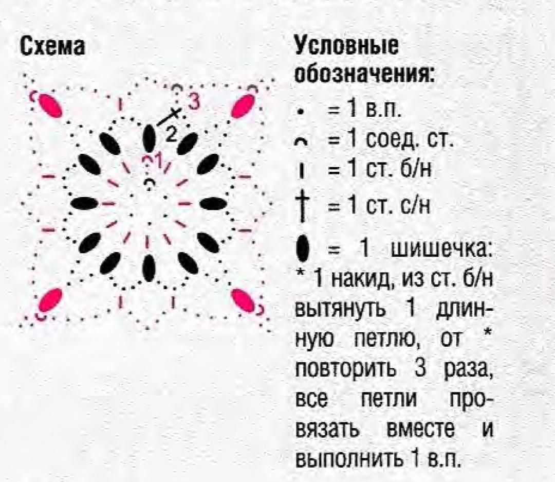 схема ромбик крючком
